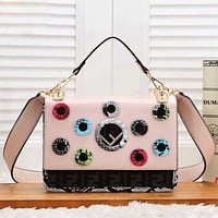 Fendi Fashion New Texture Print Leather Women Personality Shopping Leisure Shoulder Bag Pink