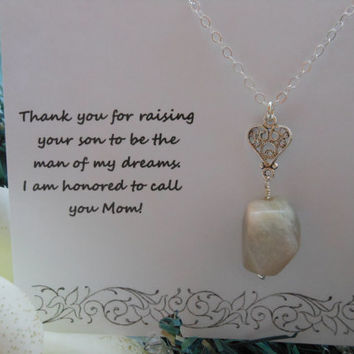 Mother of the Groom Gift, Mother in Law Gift, Silver Heart Necklace,Thank You Mom, Moonstone Necklace, Gifts For Mom, Wedding