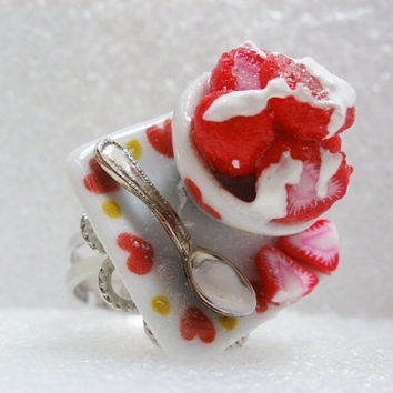 Strawberries and Cream Ring. Polymer Clay.