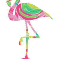 Lilly Pulitzer Inspired Multi All Nighter Flamingo Decal