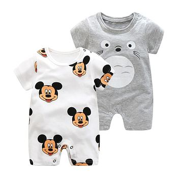 2019 Summer New Style Short Sleeved Girls Dress Baby Romper Cotton Newborn Body Suit Baby Pajama Boys Animal Monkey Rompers