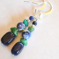 sodalite earrings, healing jewelry, adventurine earrings, dark blue dangles, boho jewelry, OOAK, Montana made, blue gemstone, earthy jewelry