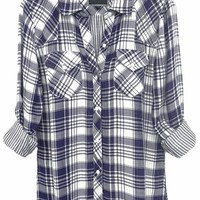 Rails Kendra Cotton Plaid Shirt in Navy/White