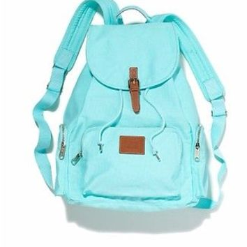 New Victorias Secret PINK Backpack Bookbag Travel Aqua Tiffany Blue Full Size