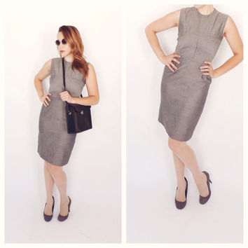 """The """"Skyscraper Dress"""" Vintage 1960s Heather Gray Sheath Dress Sophisticated Office Wear Cocktail Wiggle Mad Men Vogue Fitted Joan Holloway"""