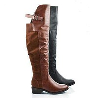Cavalier By Dollhouse, Over Knee Buckle Strap Zip Up Dual Faux Fabric Riding Boots