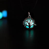 Aqua Glowing Tree of life Necklace, Glowing Jewelry,  Glow in the Dark, Gifts for Her, Valentines Day, READY TO SHIP, Glow jewelry