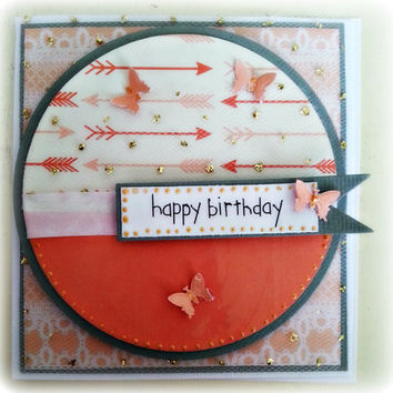 One of a Kind Birthday Card for the perfect Girl. Arrows, gold specks and butterflies. Just for you. Girlfriend Card. BFF Card
