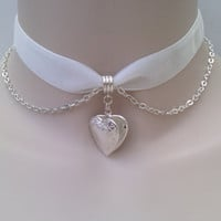 Silver Plated Opening HEART LOCKET With Belcher Chain on WHITE (or choose another colour) 16mm Velvet Ribbon Choker  :)