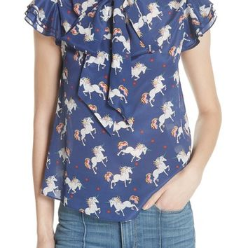 Alice + Olivia Laney Unicorn Flutter Sleeve Silk Blouse | Nordstrom