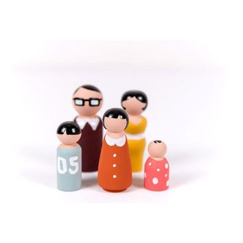 New Novelty Funny 5 PCS Wooden Peg Dolls Family DIY Crafts Cake Topper Kid's Printed Decoration Baby Souvenirs Footprint Makers