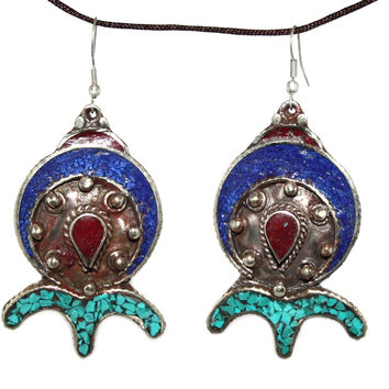 Lapis Turquoise coral Earring