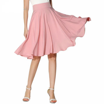 Skirts Summer Women Clothing High Waist Pleated A Line Skater Vintage Casual Knee Length Saia Petticoat