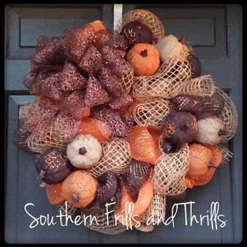 Thanksgiving Wreath, Fall Wreath, Autumn Wreath, Jute Wreath, Pumpkin Wreath, Thanksgiving Decor,Deco Mesh Wreath