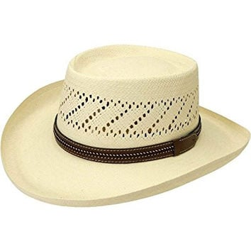 Black Creek Men's Gambler Straw Hat Ivory X-Large