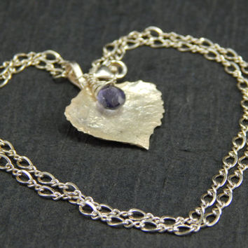 silver leaf pendant necklace, cast cottonwood leaf, wire wrapped iolite