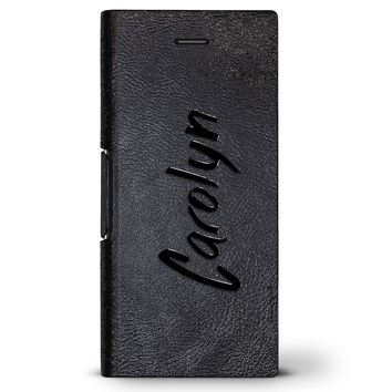Carolyn, Hand-Written First Name | Leather Series case for iPhone 8/7/6/6s in Hickory Black