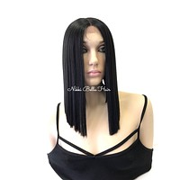Black Blunt Cut Human Hair Blend Swiss Lace Front Wig - Haley 61017 29*
