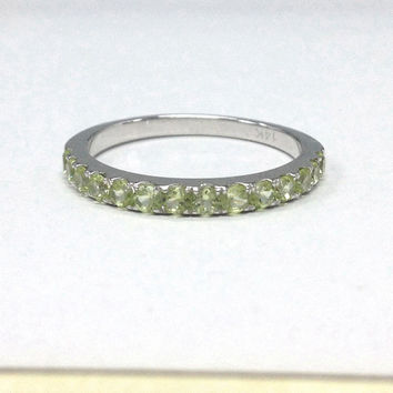 Peridot Wedding Ring,14K White Gold,2mm Round Cut Green Peridot,Eternity Matching Band,Anniversary Ring,Fashion Fine Ring,Stackable
