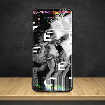 Abstract Glitch Art psychedelic Tempered Glass Soft Silicone Phone Case Shell Cover For Apple iPhone 6 6s 7 8 Plus X XR XS MAX
