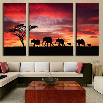 3 PCS/Set Landscape Elephants Sunset Red Sky Canvas Painting Animal Wall Pictures for living room decoration L3030
