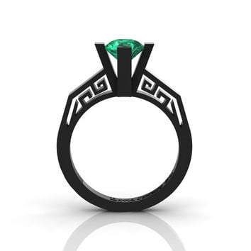 Modern Classic 14K Black Gold 1.0 Carat Emerald Bridal Solitaire Wedding Ring Engagement Ring R1024-14KBGEM