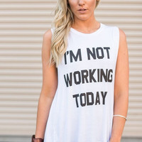 I'm Not Working Today Floral Inset Tee