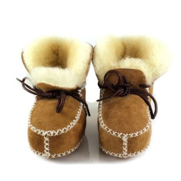 Warm Fur Lace Up Baby Girl Boots