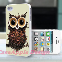 Coffee Owl - Apple iPhone 4 Case iPhone 4S Case iPhone Hard Case iPhone 4 Case Cover