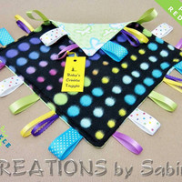 Baby Crinkle Tag Blanket, Sensory Toy, Baby Taggie, Lovie, Ribbon Blanket, Butterflies, Dots, green, REDUCED PRICE Ready to Ship 4-91