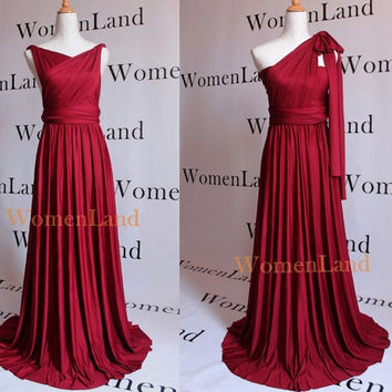 Maroon Burgundy Custom Handmade Infinity Wrapping Convertible Bridesmaid Dress Floor Length Evening Gown Plus Size Woman Multi Wrap Fashion
