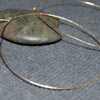 2.5 inch gold skinny hoop earrings, thin large hoops, hammered gold hoops