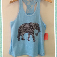 Racer tank w/ laced back- Elephant