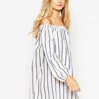 Stripe Print Off Shoulder Long Sleeve Mini Dress