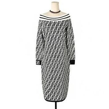 FENDI Autumn Winter Trending Women Stylish F Letter Jacquard Long Sleeve Off Shoulder Knit Dress White