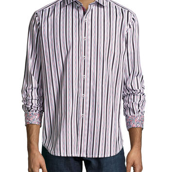 Multi-Striped Woven Sport Shirt, Red, Size: