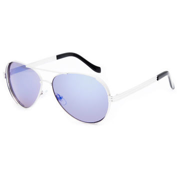 Blue Crown Metal Aviator Sunglasses Silver One Size For Men 25376814001