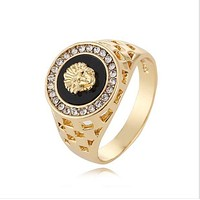 LMFONAY Versace Women Fashion Medusa Plated Ring Jewelry
