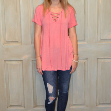 Rose All Day Lace Up Top
