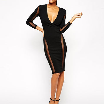 Black Sheer Panel Bodycon Dress