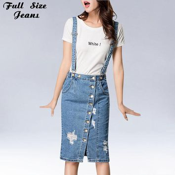 Button Front Denim Skirtall Plus Size Jean Skirt With A Fitted Top Playful Wedges Destructed  Suspender Jeans Skirts 4Xl 5Xl