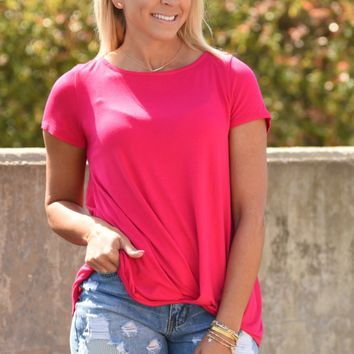 Knot Your Basic Top - Fuchsia