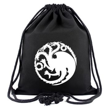 Anime Backpack School Game Of Thrones kawaii cute Canvas Drawstring Bags Cartoon Boys Girls School Bags Backpack Travel Bags Unisex Shopping Bag Gift AT_60_4