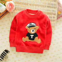 Children's clothing child winter male female child plus velvet thermal sweater child double faced fleece pullover sweater plus