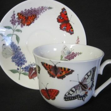 Butterfly Garden English Bone China Tea Cups Set of 2