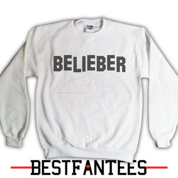 Belieber Justin Bieber Sweatshirt - Fans hollywood Belieb Believe Believer White Crewneck Sweater Jumper 020