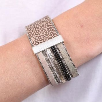 Double Or Nothing Leather Magnetic Bracelet