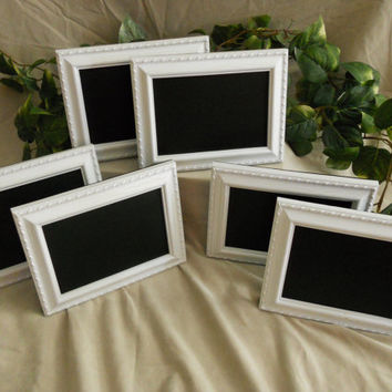 Set of six white framed chalkboards, chalkboard set, white chalkboard set, white chalk board set, chalk board set, wedding chalkboards, menu
