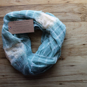Mixed Print Lace and Voile Mint Blue and Cream Soft, Lightweight Scarf, Year-Round Scarf Spring Scarf Fall Scarf Lace Scarf Mint and Cream