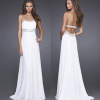 Listing A-line White Chiffon Prom Dresses for Brenna Jones